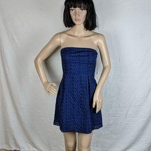 NWT Old Navy Dark Blue Eyelet Strapless Mini Dress